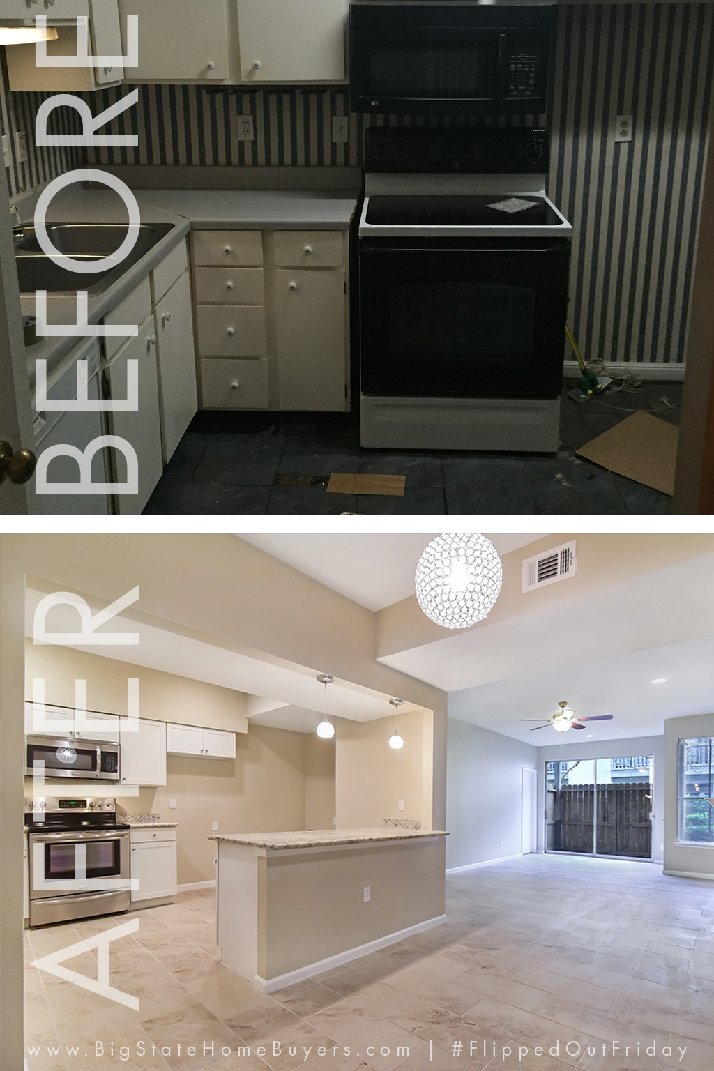 For this week's edition of #FlippedOutFriday, we bring you a story about 3 friends. Keith, Beverly and Bill lived together for many years in this condo. When Keith passed away, Beverly and Bill were surprised to inherit the house. We were able to clean up the title and they each received a substantial amount of money. After rehab, it sold in only 1 day! This kitchen renovation made a HUGE difference!