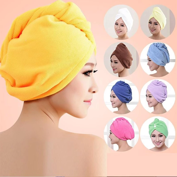 Women Bathroom Super Absorbent Quick-drying Microfiber Bath Towel Hair Dry Cap W