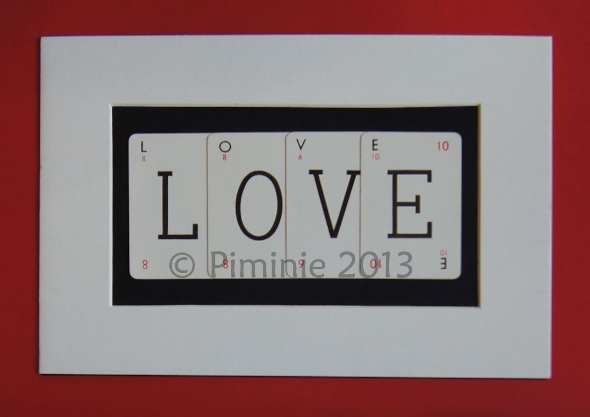Vintage playing card framed word LOVE. Made from individual cards ...