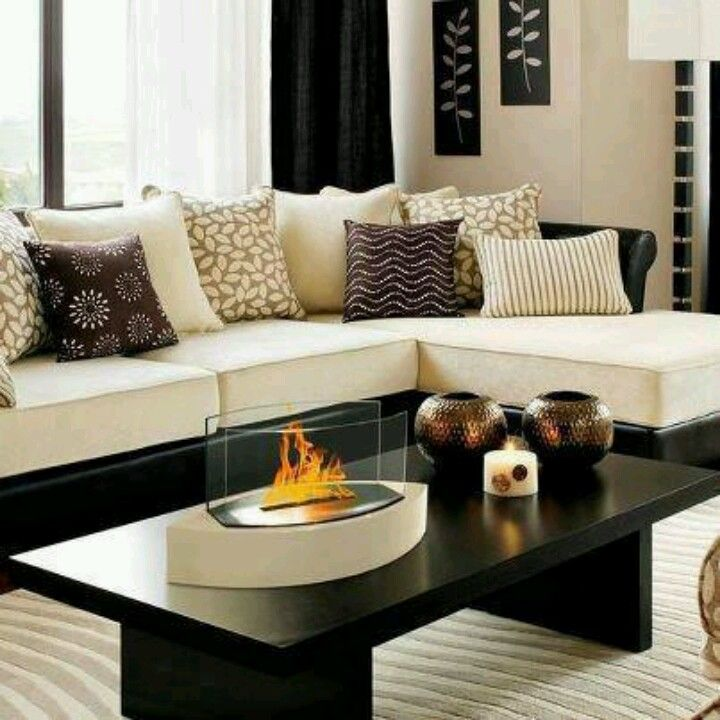Off white tan brown and black furniture home decor - Black brown and white living room ...