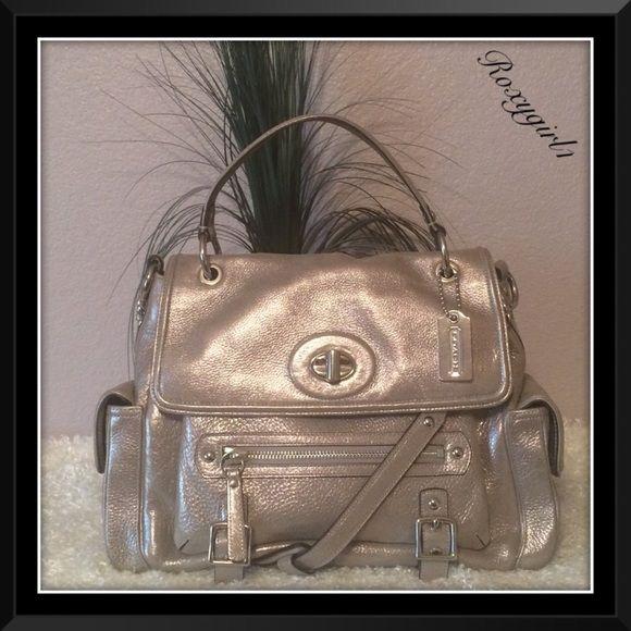 Rare Coach Sydney Silver Leather 14616