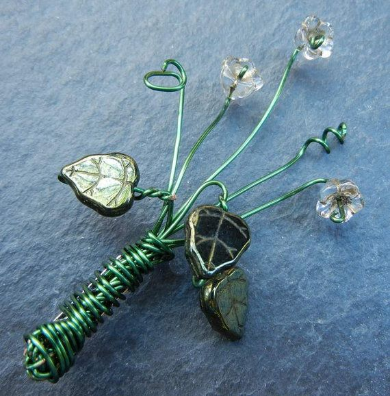 Green Wire Wrapped Floral Bouquet Brooch with Clear Glass Flowers ...