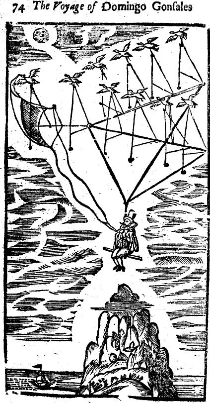 Image From The Man In The Moone Published 1638 In The Book The Protagonist Domingo Gonsales Flies To The Moo Weird Creatures World History Facts Creatures