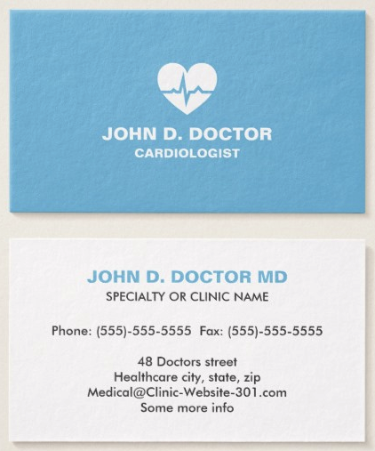 Modern Cardiologist Cardiology Heart Business Card Zazzle Com Medical Business Card Doctor Business Cards Blue Business Card
