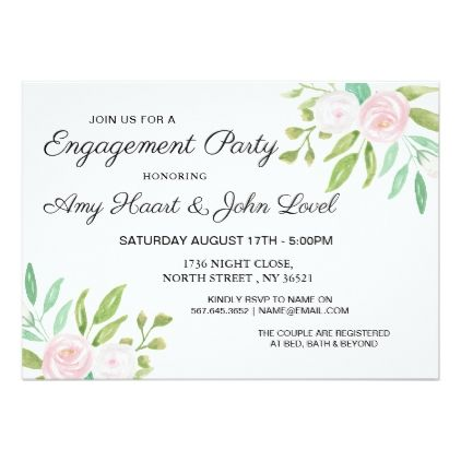Watercolor White Flowers Engagement Party Invite  Invitations