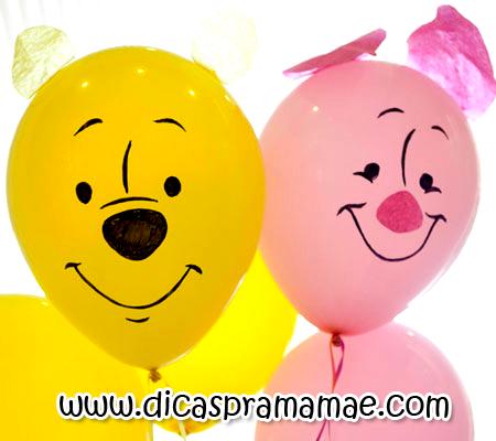 Bexigas decorados para festinha do Pooh - Dicas pra Mamãe