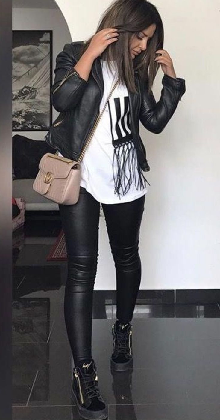 Faux Black Leather Pants Outfit With Biker Jacket