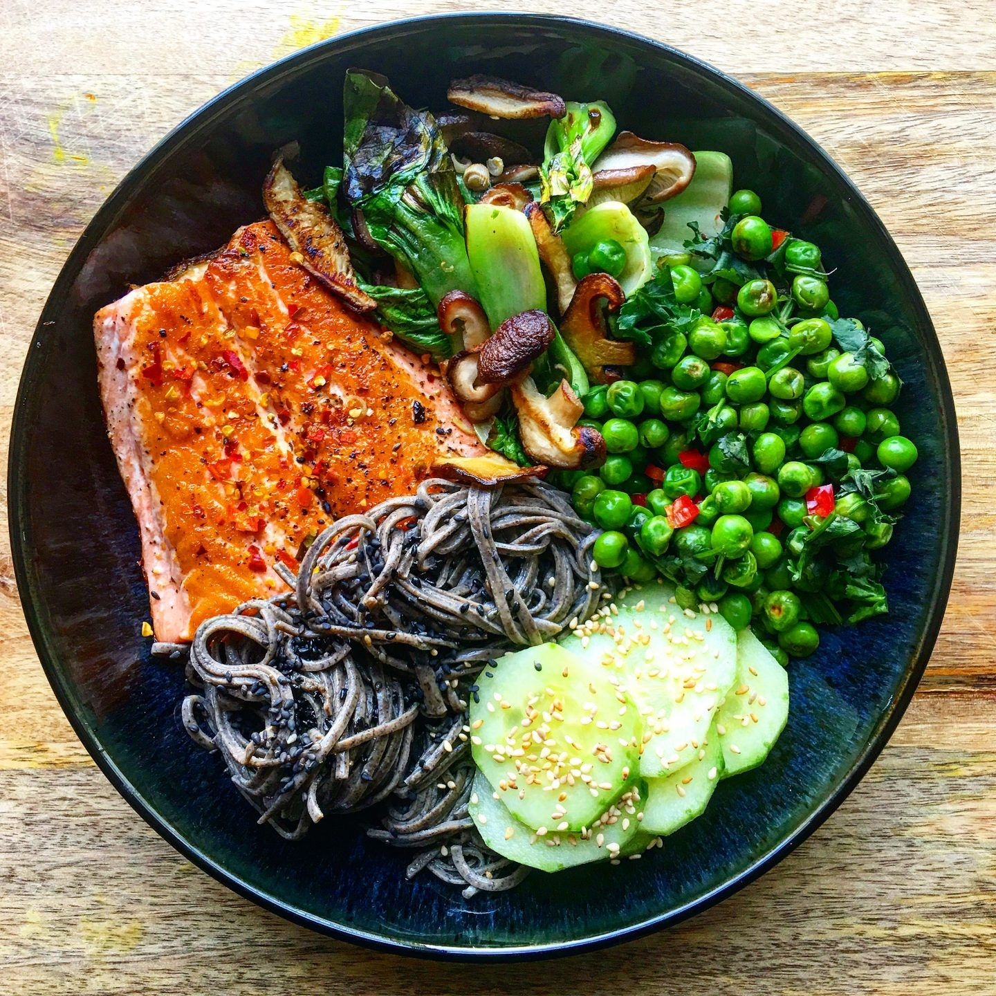 Asian Style Buddha Bowl With Chilli Salmon And Black Bean