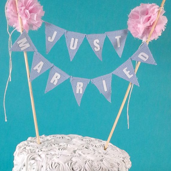 Wedding Cake bunting Blue Pink wedding cake by Hartranftdesign