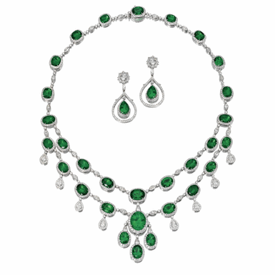 EMERALD, DIAMOND AND CULTURED PEARL NECKLACE AND MATCHING EARCLIPS, GIOVANE | Sotheby's