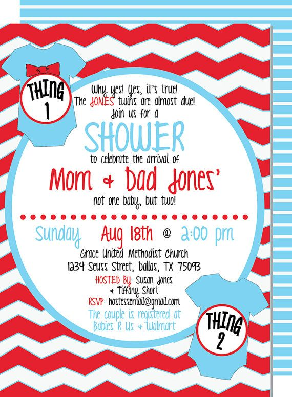 thing 1 thing 2 twin baby shower printable invitation thing 1 boys