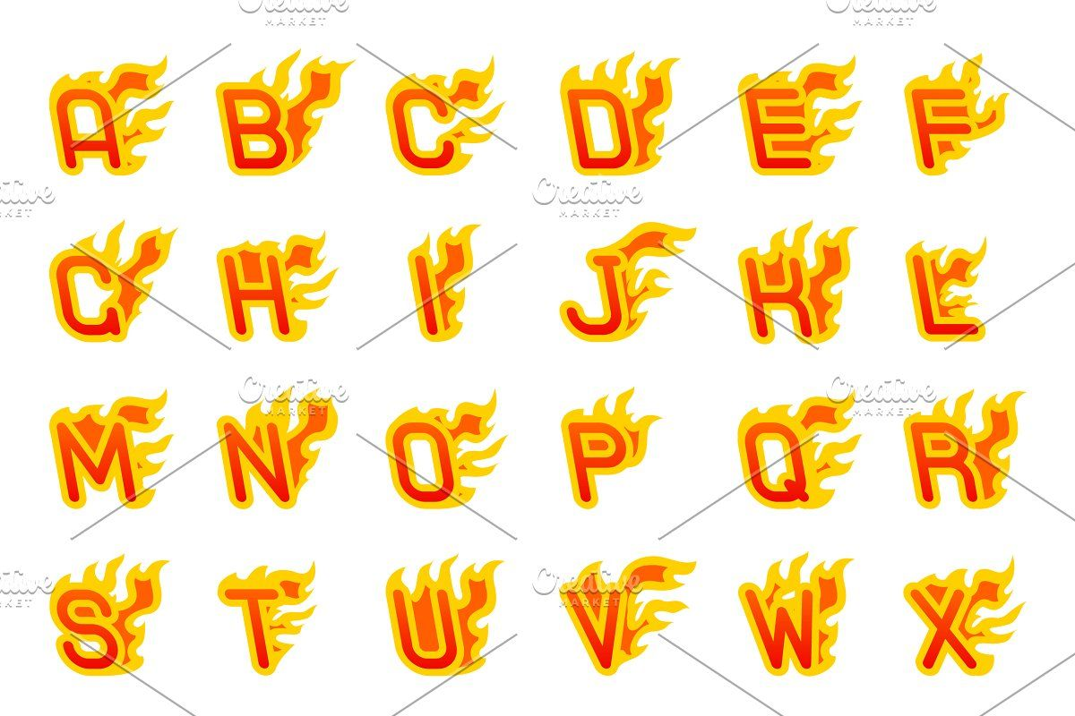 Fiery A To Z Letters Burning Abc Fonts Alphabet Fonts Design Burns