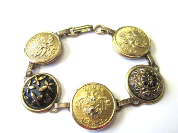 Antique WEST POINT cadet button bracelet. Black \u0026 Gold. USMA mom, USMA  sister, USMA grandma