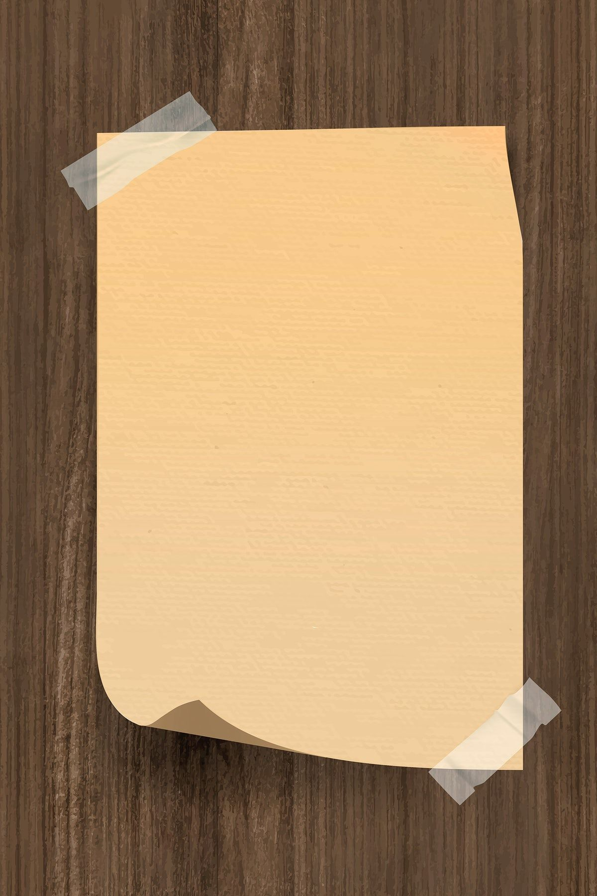 Download Premium Vector Of Vintage Brown Note Paper Taped On Wooden Note Paper Brown Note Background Vintage