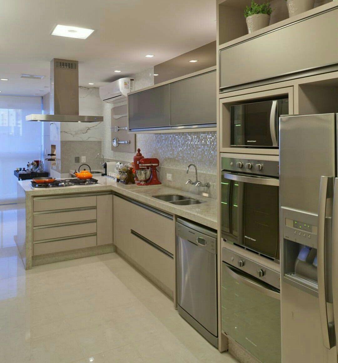 Pin De Patricia Tavares En Cozinha Pinterest Cocina Peque A  ~ Colores De Muebles De Cocina Modernos