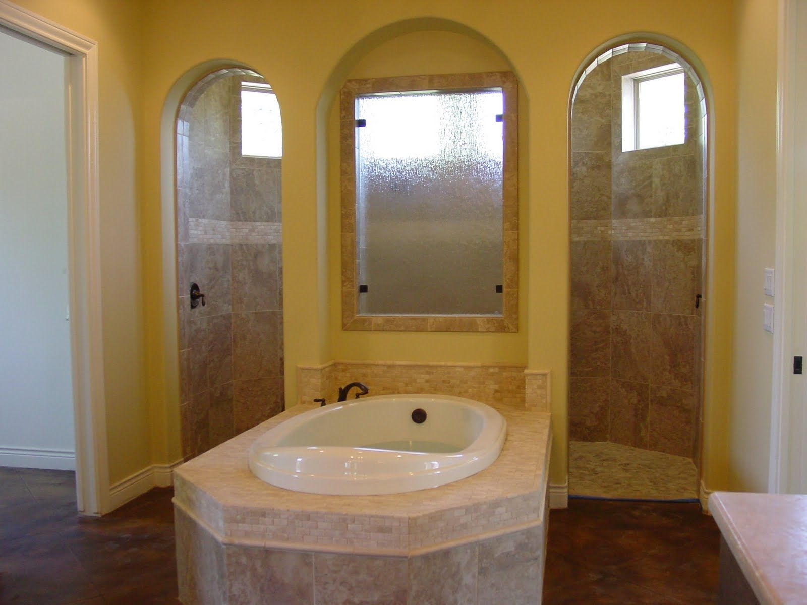 This idea: bathtub with walk-in shower behind it. However, huge ...