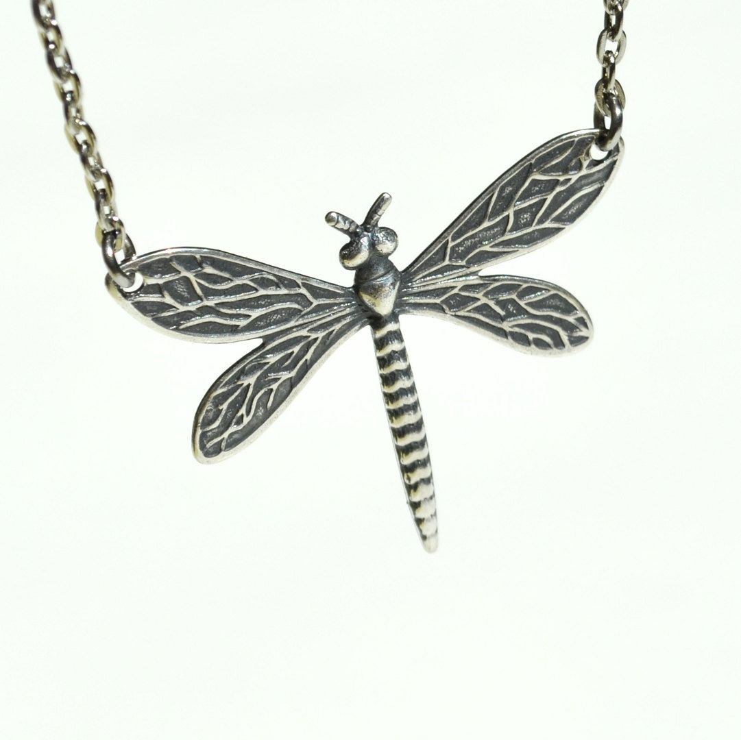 Silver Dragonfly Jewelry, Dragonfly Necklace, Antique Silver ...