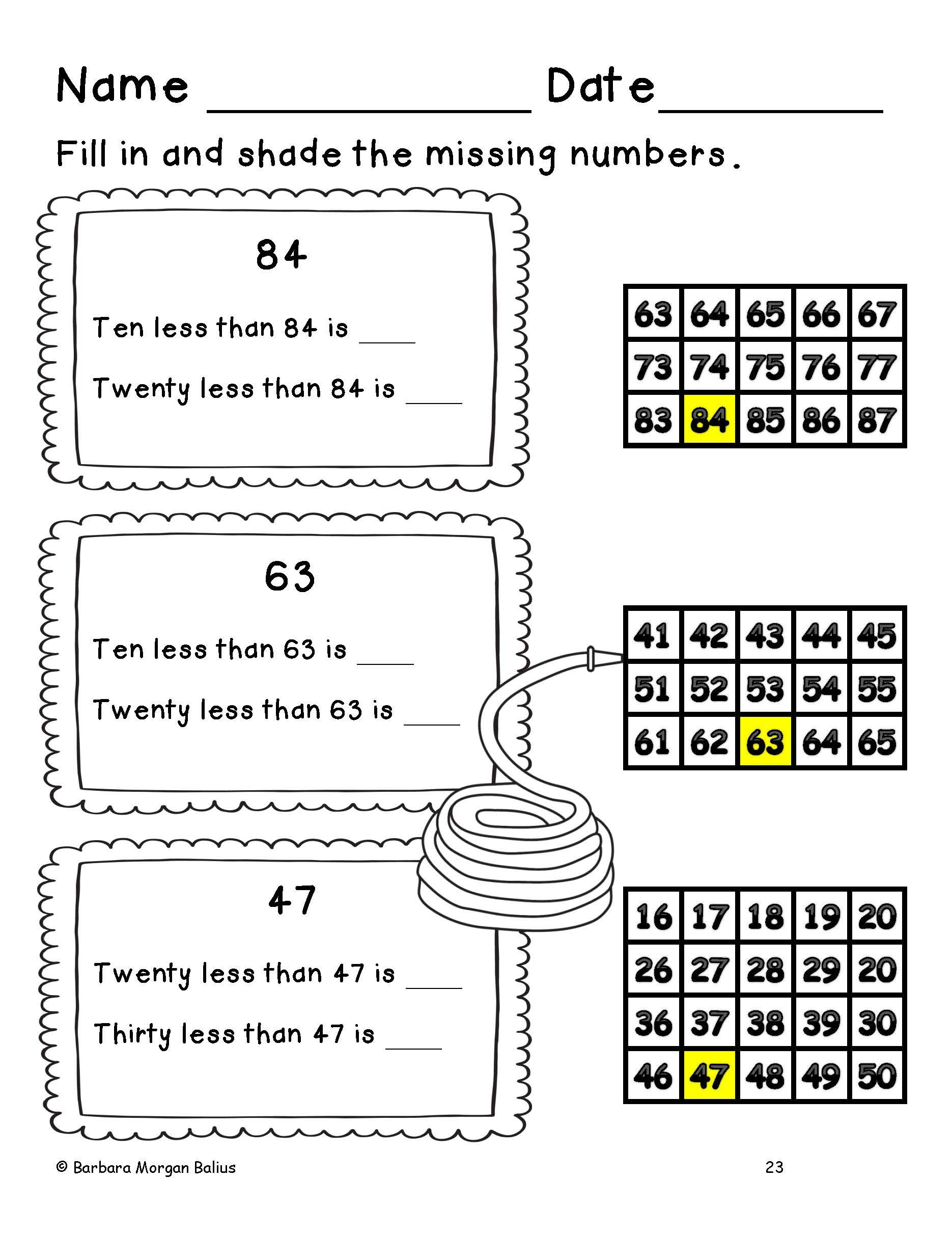 Spring First Grade Math Place Value Hundred Chart Spring