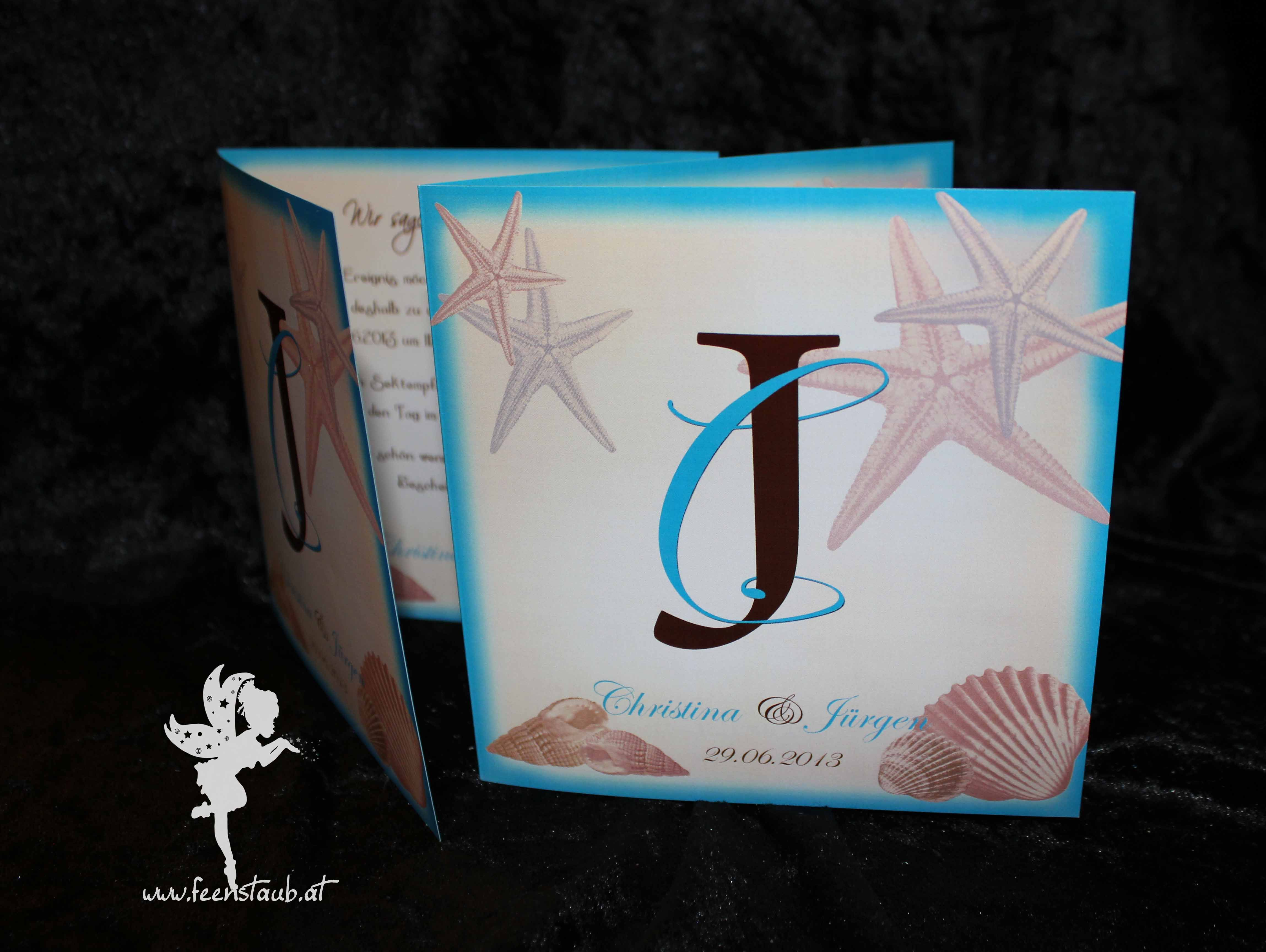 wedding maritime invitation sea shells #weddinginvitation #weddingpapeterie  #hochzeitseinladung #feenstaub