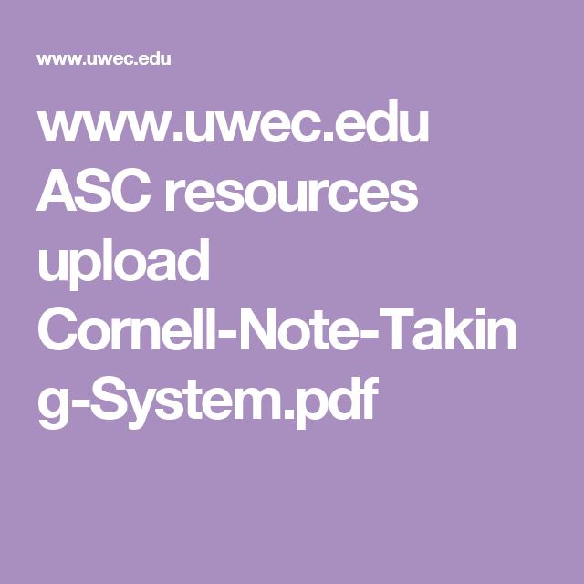 WwwUwecEdu Asc Resources Upload CornellNoteTakingSystemPdf