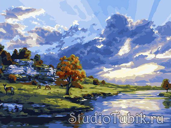 Картины известных художников : Закат на реке, худ.Darrell ...