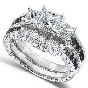 1 35 carat tw black and white diamond wedding ring set in 14k white - Black And White Diamond Wedding Rings