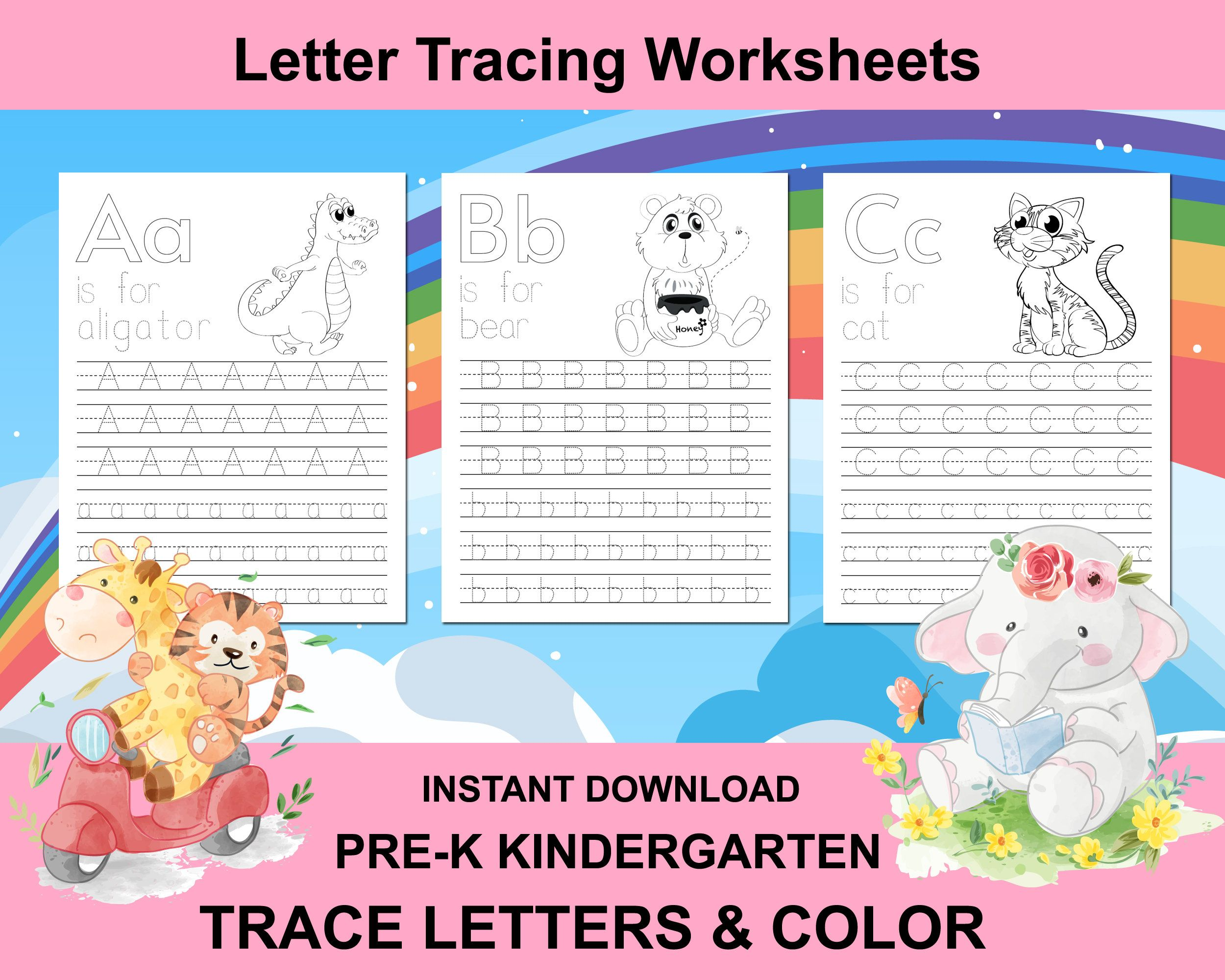 Letter Tracing Worksheets Alphabet Writing Practice Abc