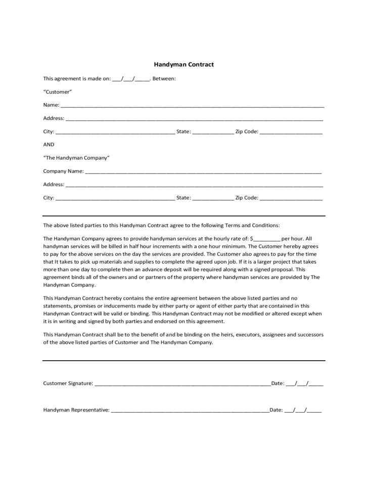 Handyman Contract Template 1 Contract Template Invoice Template Handyman Business