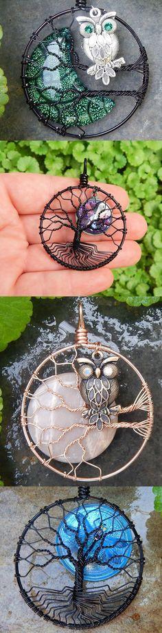 MadamVonTrinket's http://www.etsy.com/shop/MadamVonTrinkets #wire #wrapped #jewelry #owl #tree