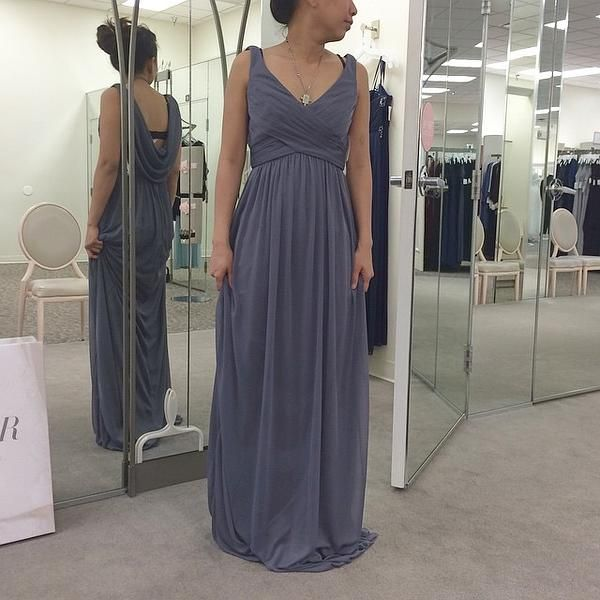 Cowl Back Bridesmaid Dress: Long Mesh Dress With Cowl Back Detail