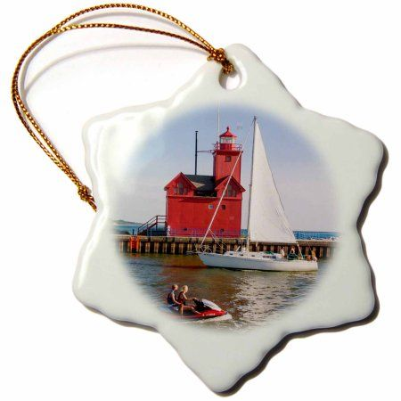 3dRose Gabled roof on South Pierhead Lighthouse. Lake Michigan, Michigan, USA, Snowflake Ornament, Porcelain, 3-inch