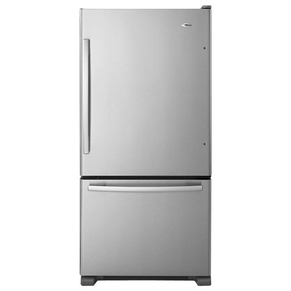 Amana 22 cu ft bottom freezer refrigerator in stainless