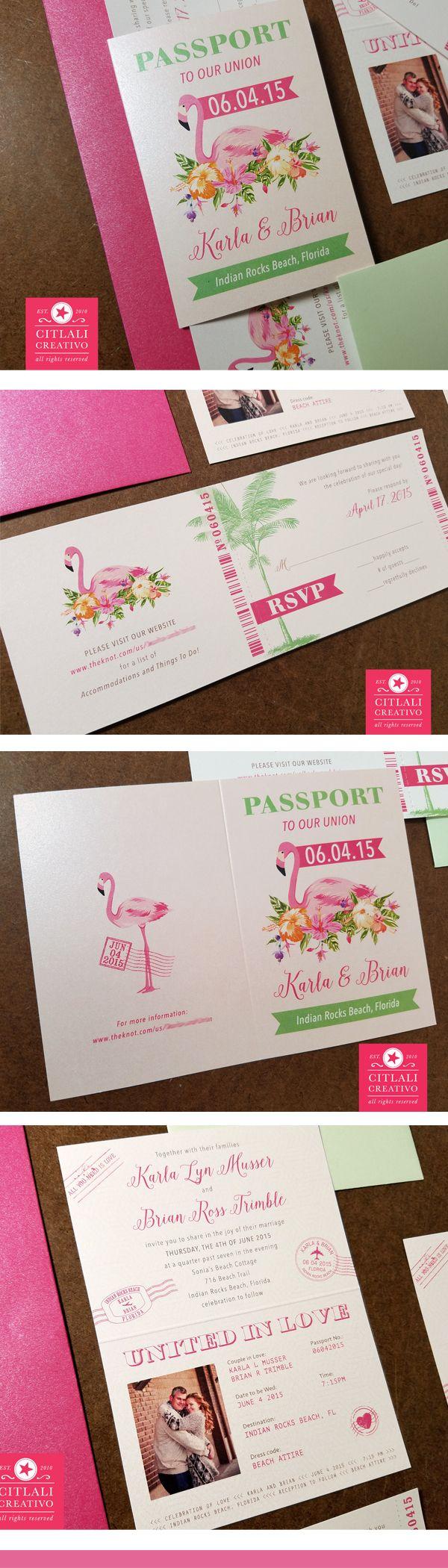 Flamingo Passport + Boarding Pass Beach Wedding Invitations in hot ...