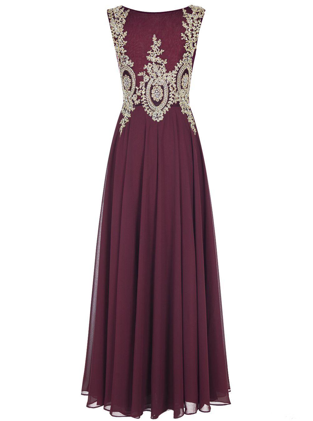 Alagirls long applique prom dress seethrough chiffon evening dress