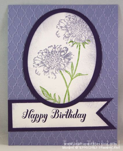 Stampin' Up! Convention 2013 Card Swaps - birthday card by Julie Blanchet.  Stamps:  Field Flowers, Bring on the Cake.  Colors:  Wisteria Wonder,  Elegant Eggplant, Gumball Green.  Embossing Folder:  Fancy Fan.