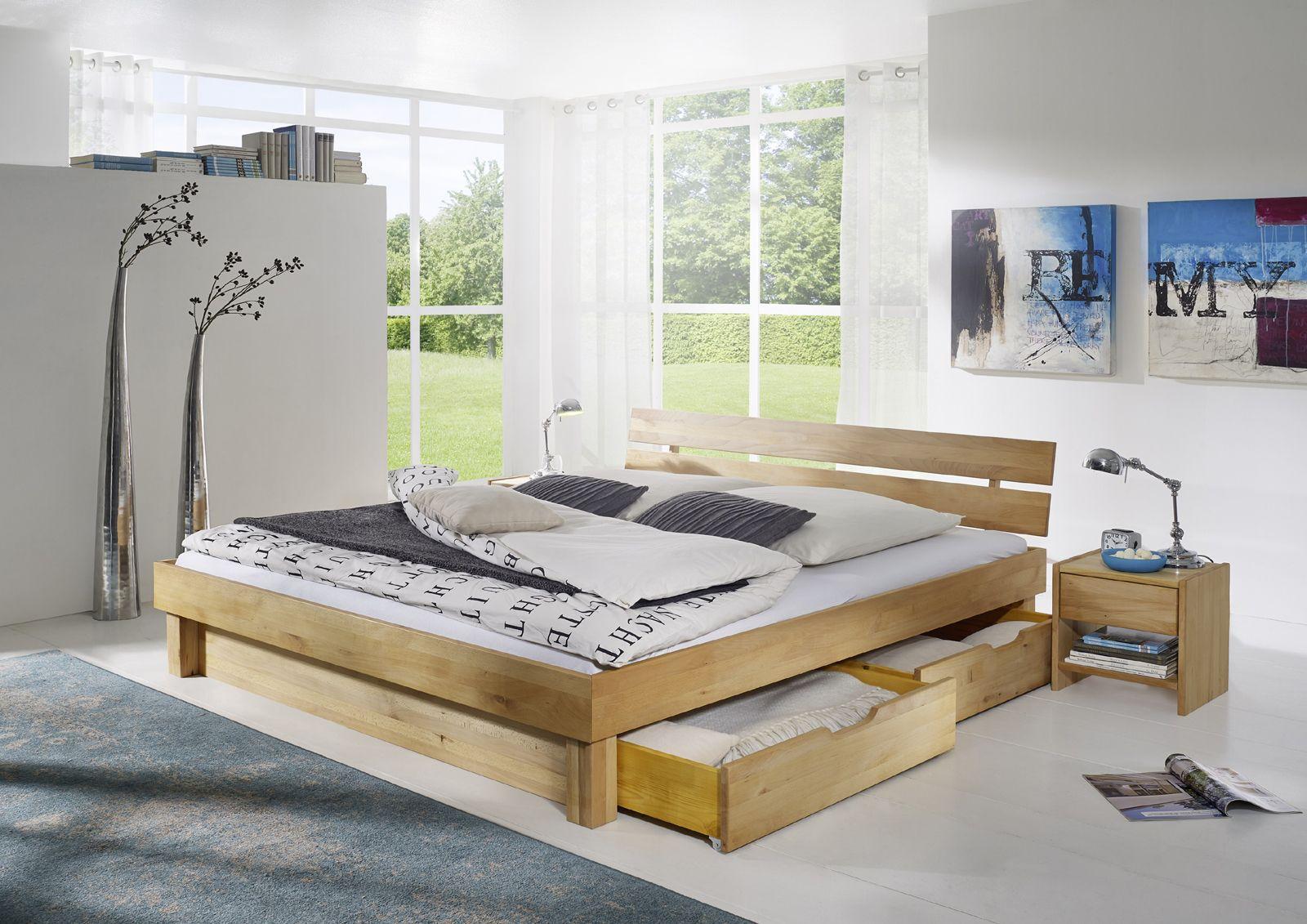 SAM® Massivholzbett 180 cm geteilt Kernbuche Bettkästen