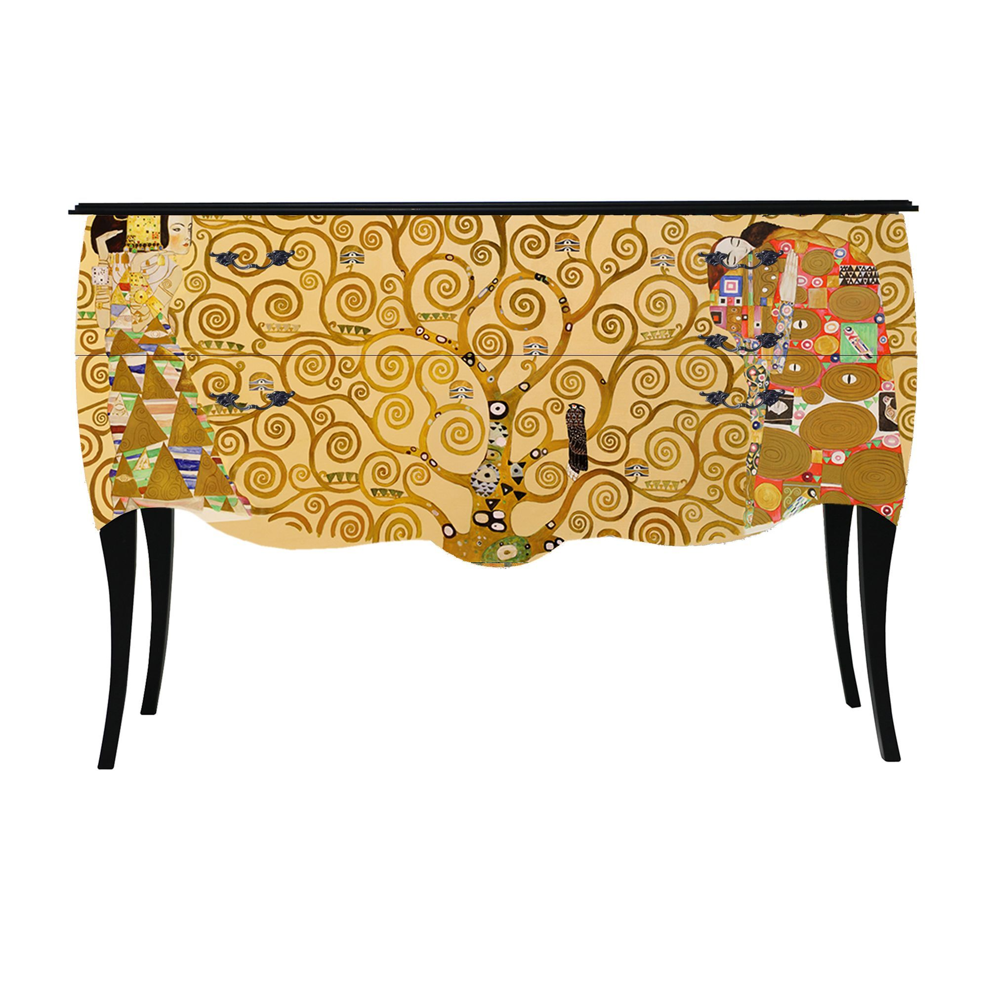 grande commode 2 tiroirs imprim tableau de ma tre print baroque klimt commodes. Black Bedroom Furniture Sets. Home Design Ideas