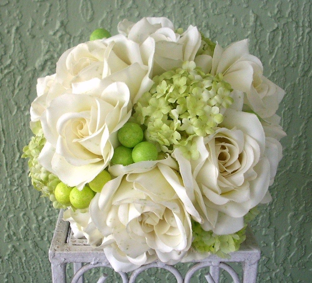 Ivory and lime green rose snowball and berry silk flower bouquet ivory and lime green rose snowball and berry silk flower bouquet with tulle accents mightylinksfo Images