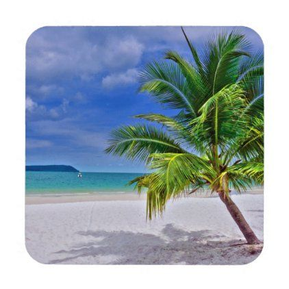 Perfect Palm Tree Tropical Island Beach Beverage Coaster