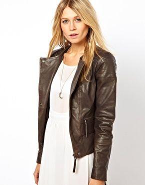 73471f2c4498 Enlarge ASOS Rib Insert Leather Biker Jacket