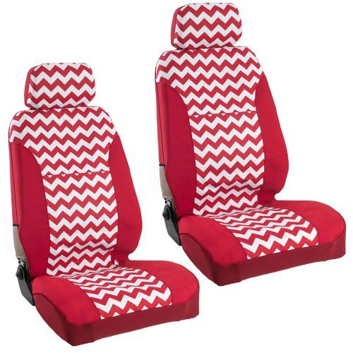 Amazon Com Usa Made Seat Cover Red Chevron Cotton W Headrests Large Pair Automotive Red Chevron Headrest Seat Cover
