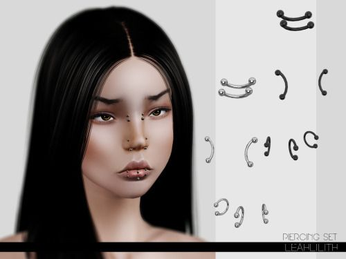 Leahlillith : Piercing Set | Anime ❤️ | Sims 4 dresses