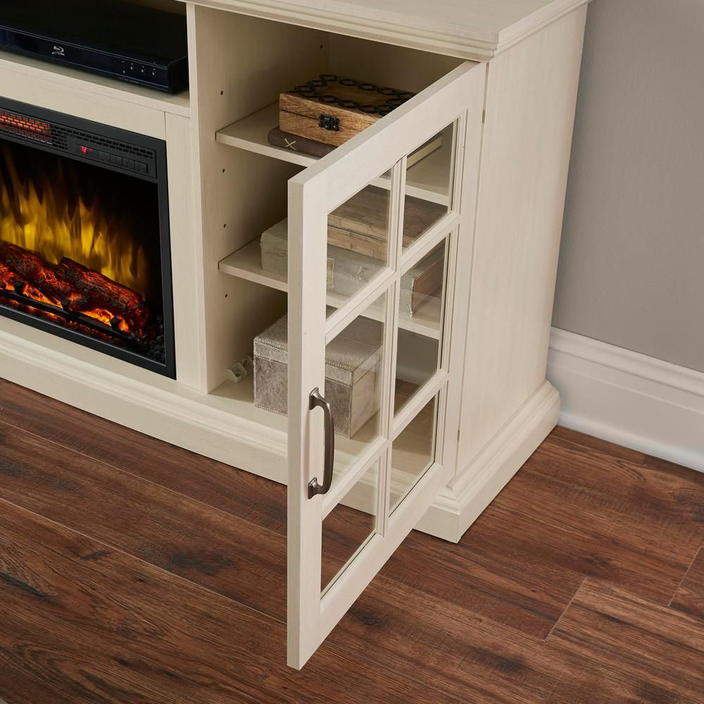 Home Decorators Collection Edenfield 70 In Freestanding Infrared Electric Fireplace Tv Stand In Aged White 365 741 165 Y The Home Depot Electric Fireplace Tv Stand Fireplace Tv Stand Electric Fireplace
