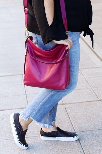 1547702b0b Sunday sneakers and our Maya hobo handbag in fall raspberry wine. via    prettyinpigment