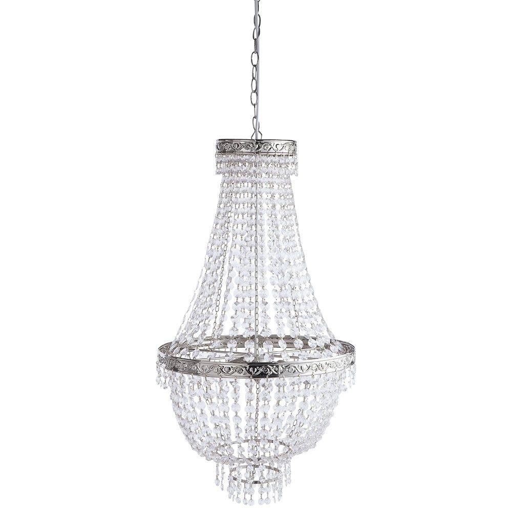 MANOIR metal droplet chandelier in chrome finish D 43cm   Maisons ...