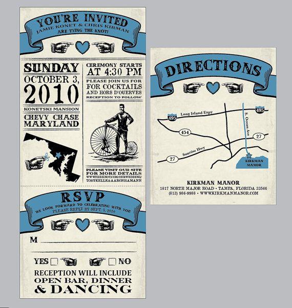 vintage antique victorian movie ticket wedding invitation set with