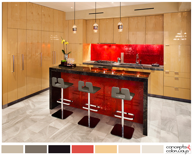 Modern kitchen color palette with bright red accent for Bright red kitchen cabinets