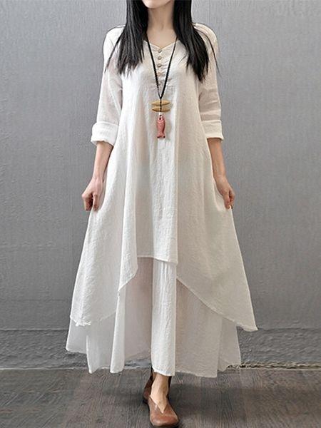 b15c589e8b Classical Round Neck Falbala Printed Maxi-dresses | fashionmia.com