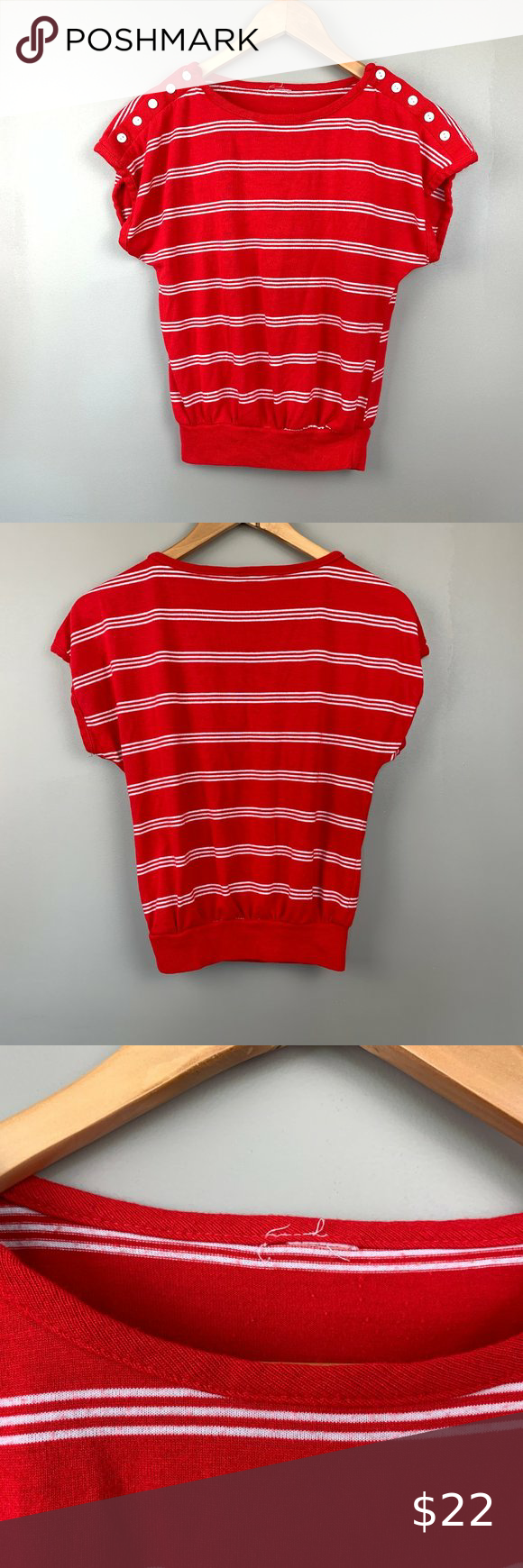 Vintage Red Stripe Sleeveless Sweater Small Top Red White Striped Top White Stripes Top Sleeveless Sweater