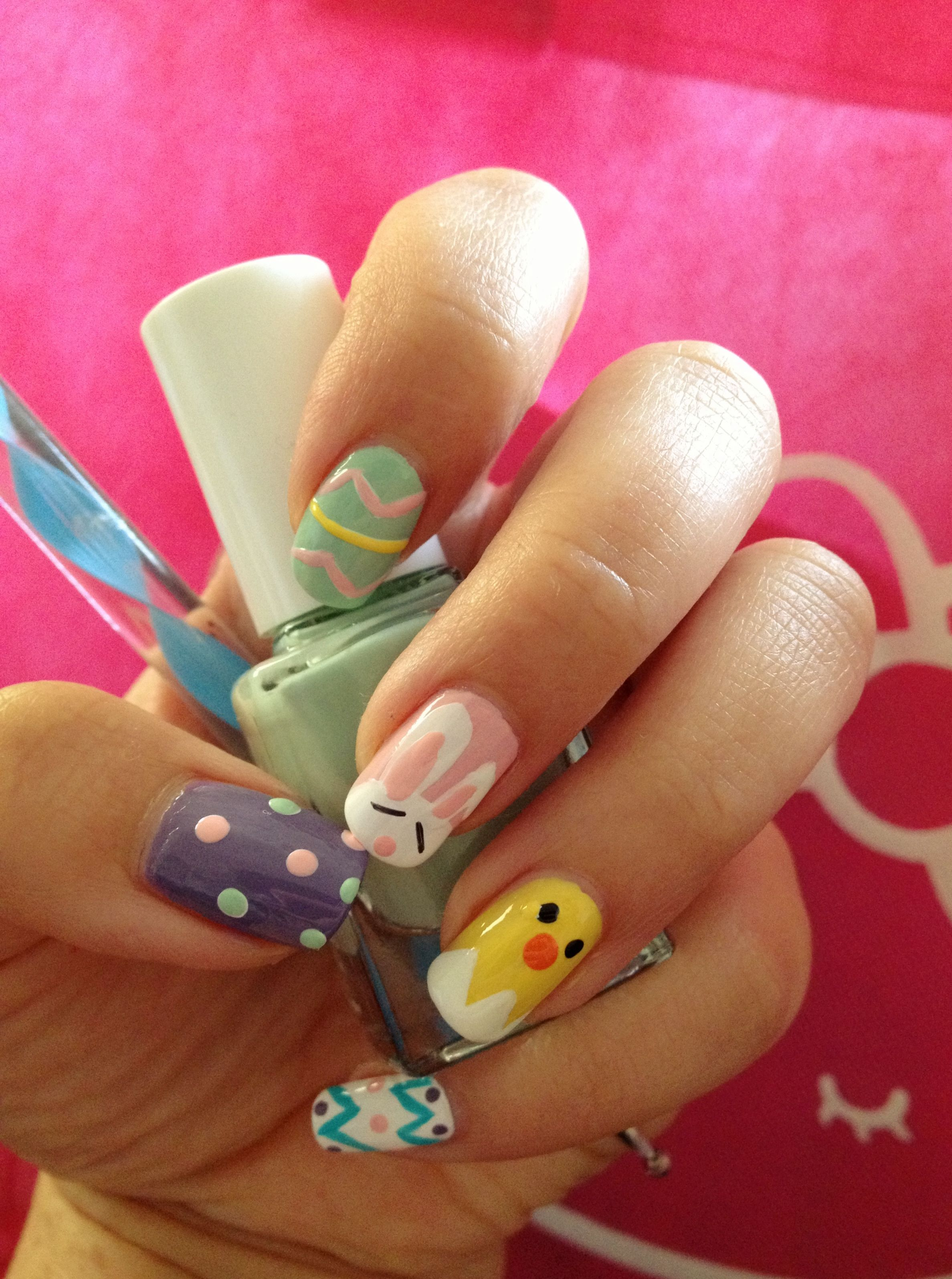 DIY Easter nails: use pastel colors & dotting tool (or bobby pin) to ...